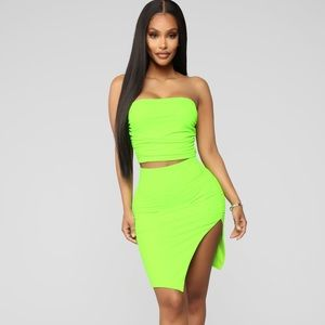 Cut it up Cutie Skirt Set- Lime